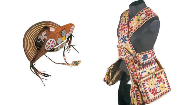 Chapéu de couro do rei do cangaço (à esq.) e conjunto de bornais 186e3da868e